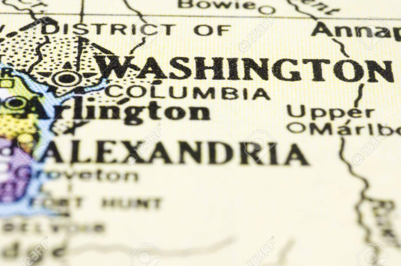 Map Of United States Washington Dc.A Close Up Of Washington Dc On Map United States Stock Photo