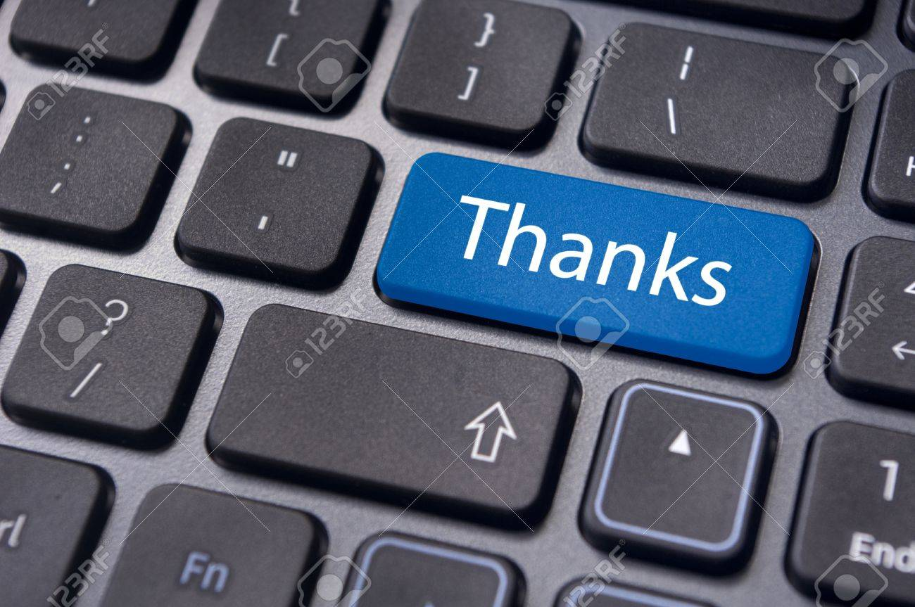 a thanks message on enter key of keyboard Stock Photo - 13812244
