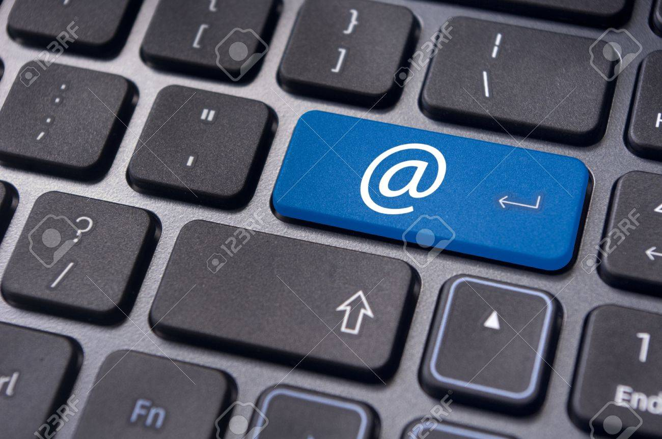 at sign or ampersat on keyboard enter key, for email concepts Stock Photo - 13932514