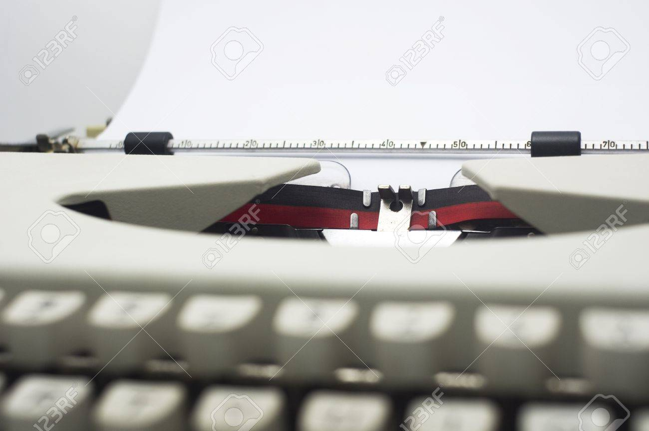 a close up of typewriter, focus on paper where message will be typed Stock Photo - 16926363