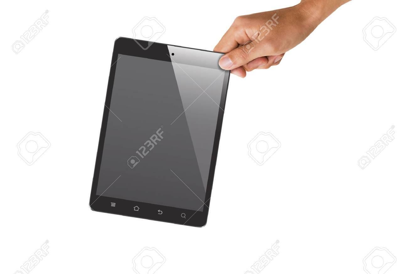 isolated hand holding tablet, to replace screen with images Stock Photo - 18652296