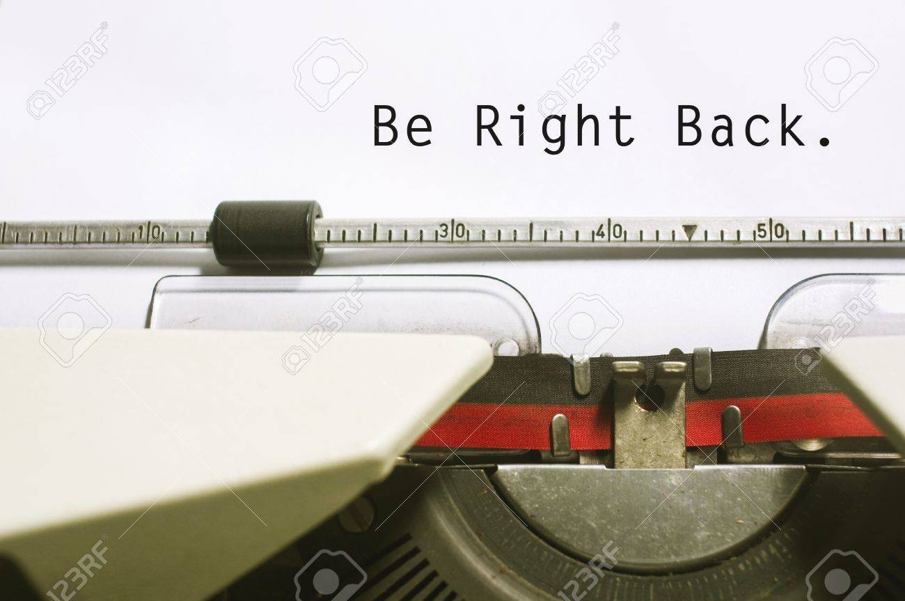 Be Right Back Concepts With Message On Typewriter For Website Maintenance Stock