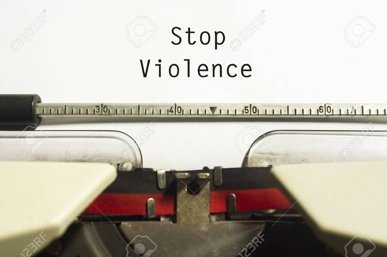 stop violence concept, with message on typewriter paper. Stock Photo - 20106844