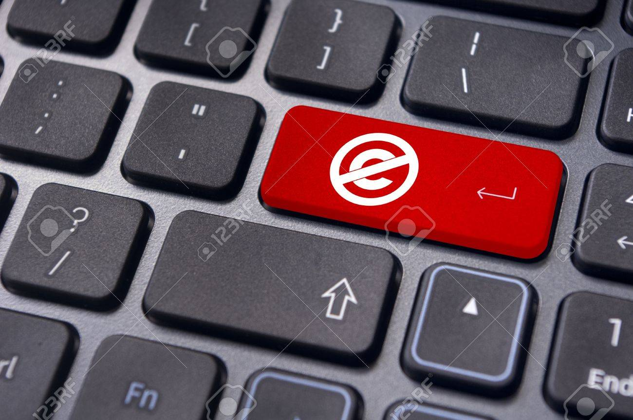 a no copyright or public domain mark on keyboard to illustrate