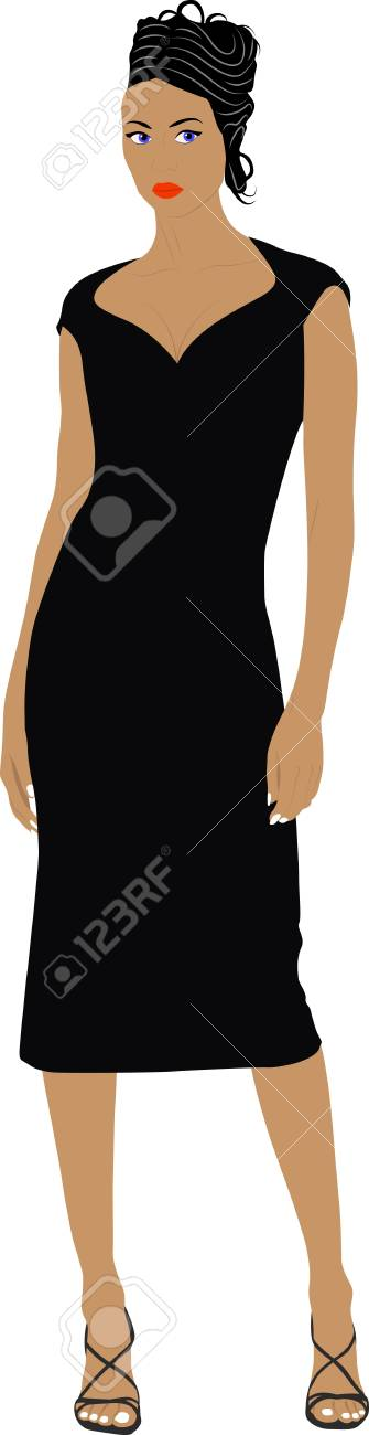 elegant woman in black dress Stock Vector - 11276792