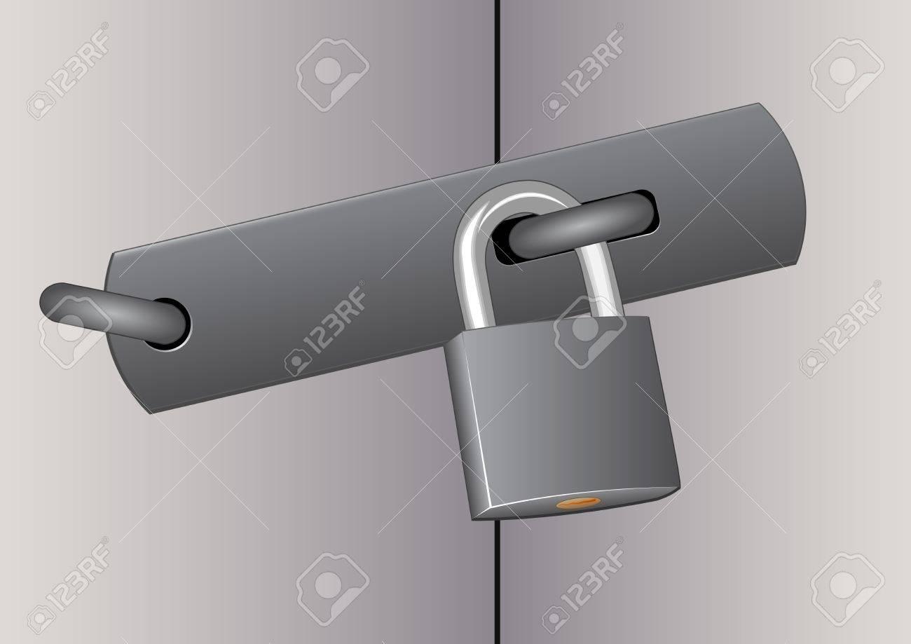 closed door with padlock Stock Vector - 11276833
