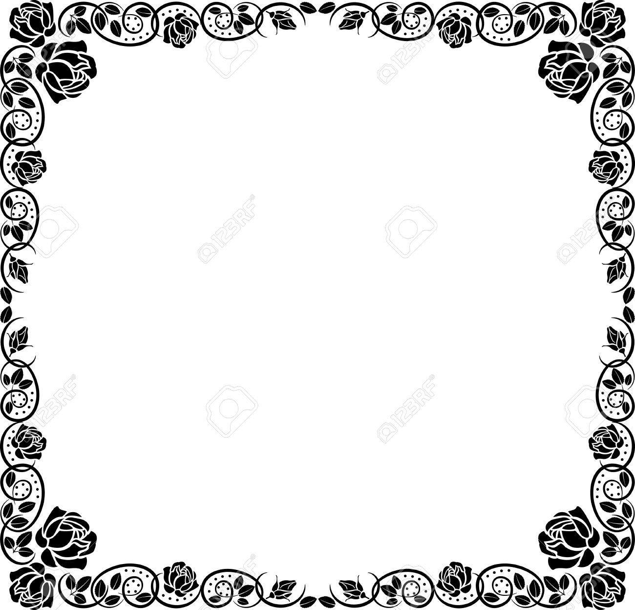 silhouette border with rose decoration Stock Vector - 11455292