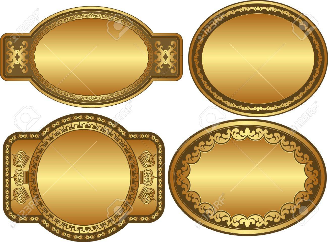 set of golden backgrounds with ornaments and copy space Stock Vector - 12804782