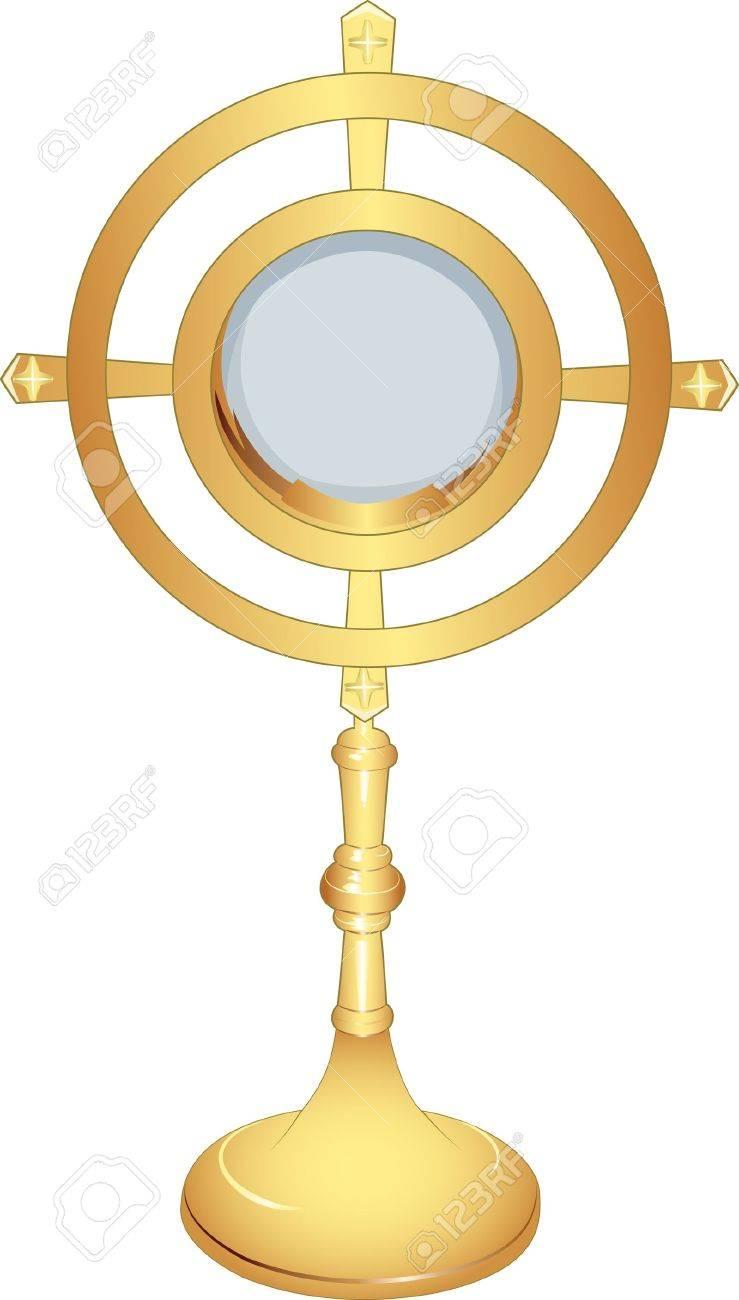 liturgical vessel gold monstrance Stock Vector - 12804790