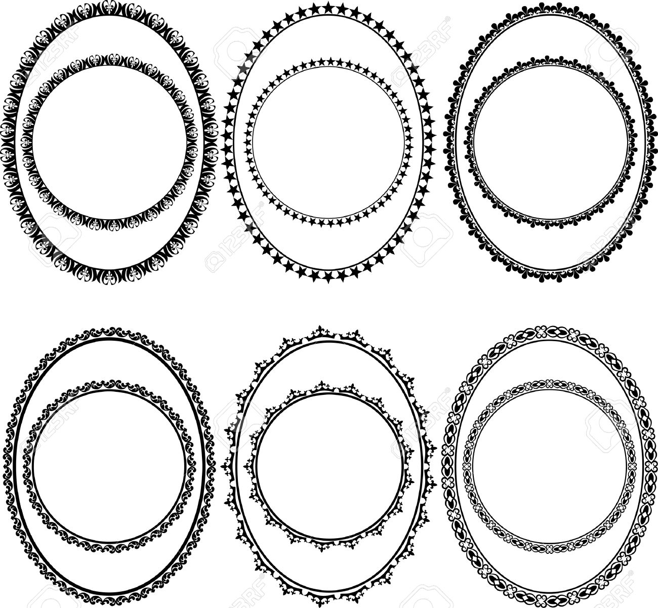 ornamental oval borders and round Stock Vector - 12804791