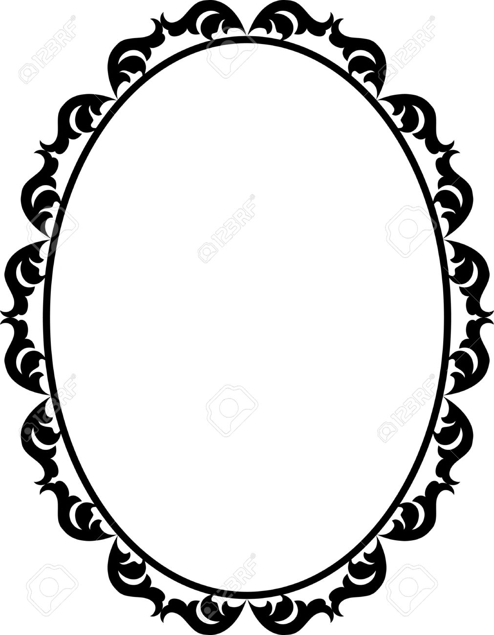 Silhouette Ornamental Frame Oval Royalty Free Cliparts, Vectors, And ...