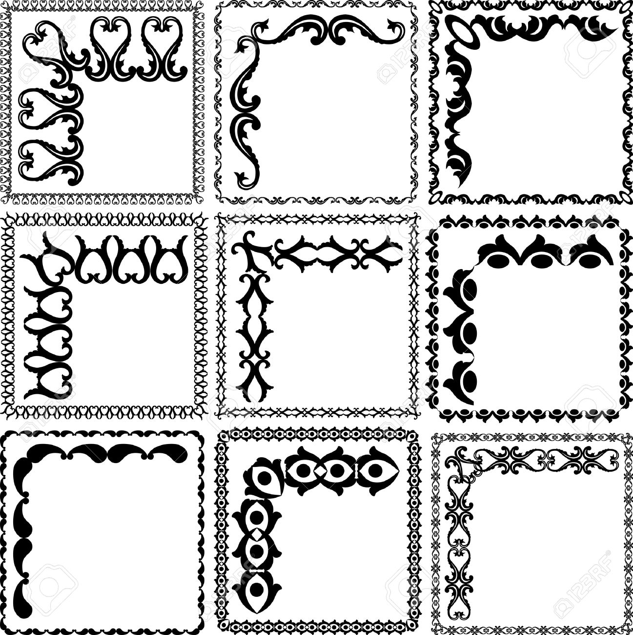 silhouette square frames and corners Stock Vector - 12804810