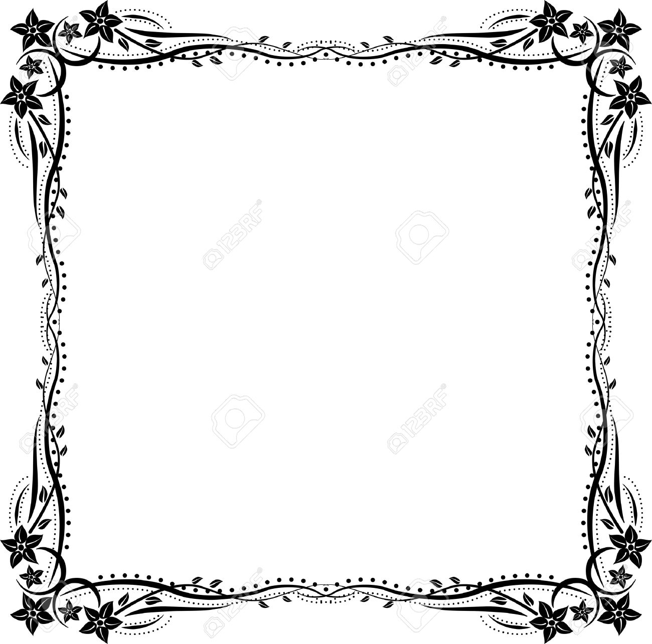 Silhouette Frame With Floral Ornaments Royalty Free Cliparts ...