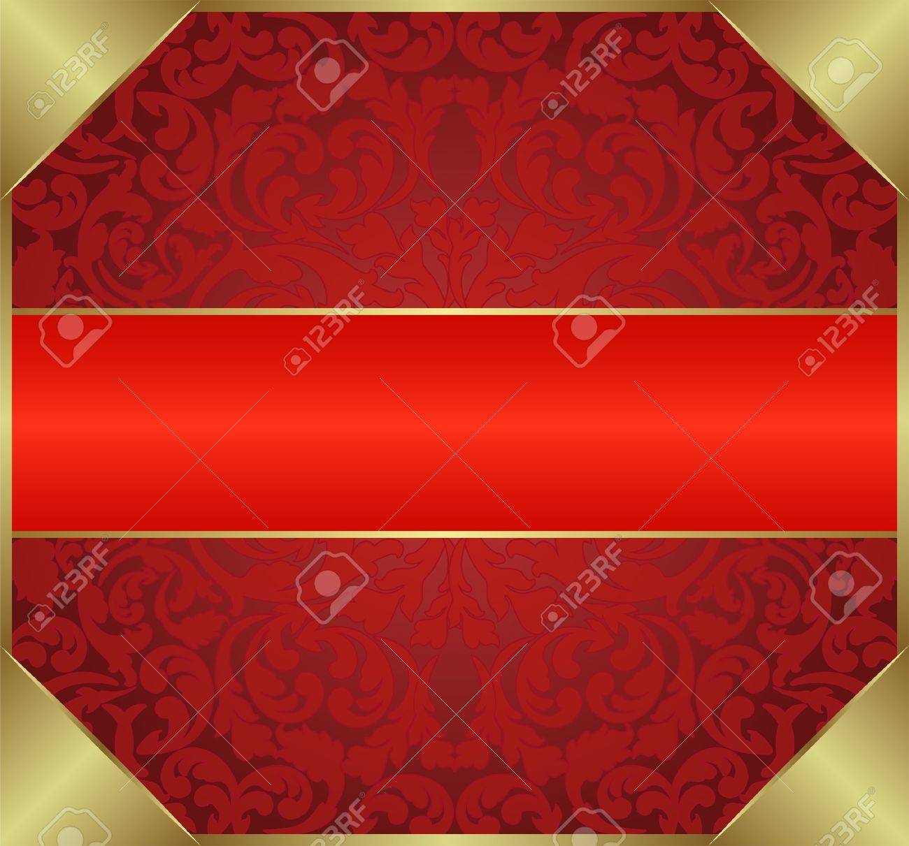 red background with floral ornaments Stock Vector - 12933359