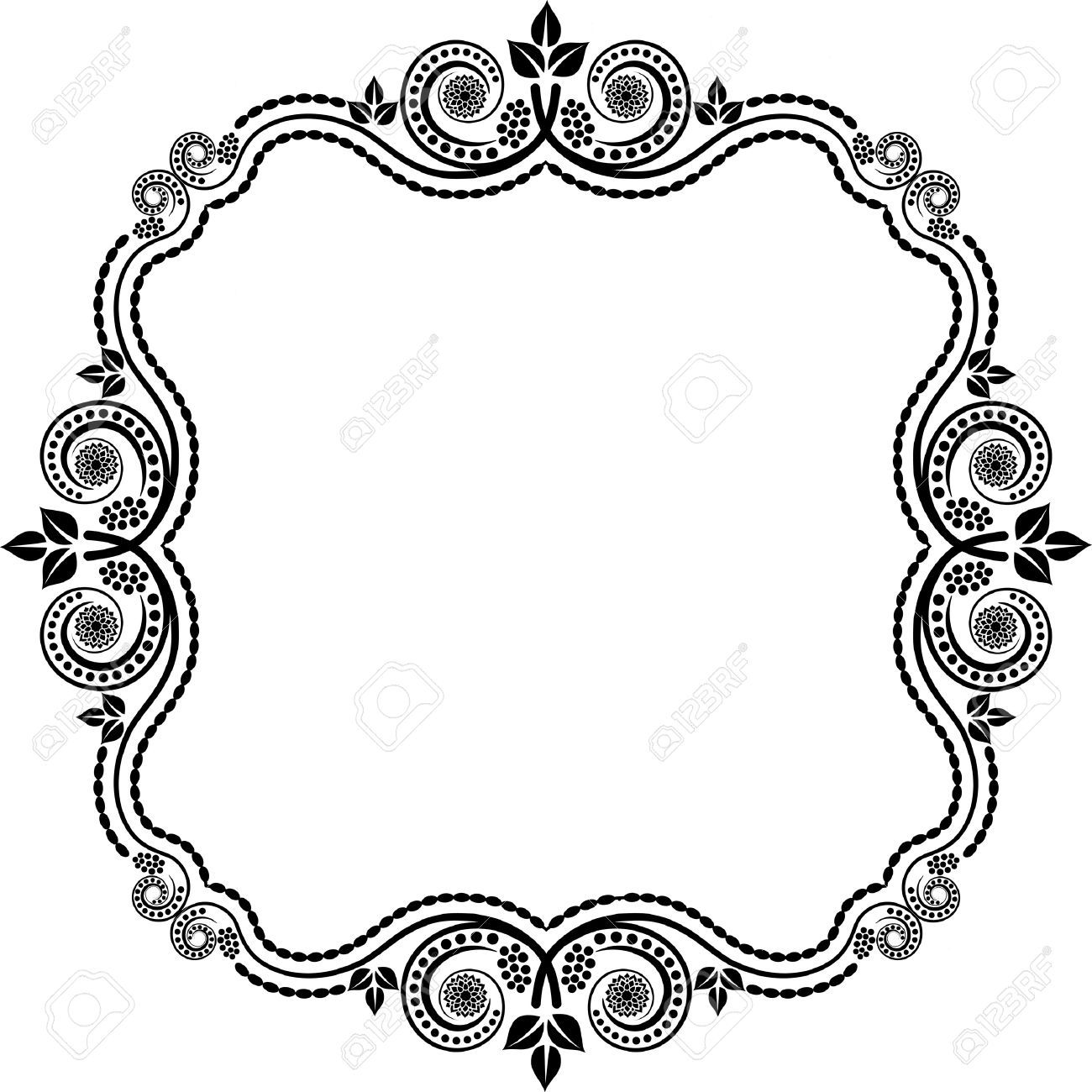 vector square frame with floral decoration