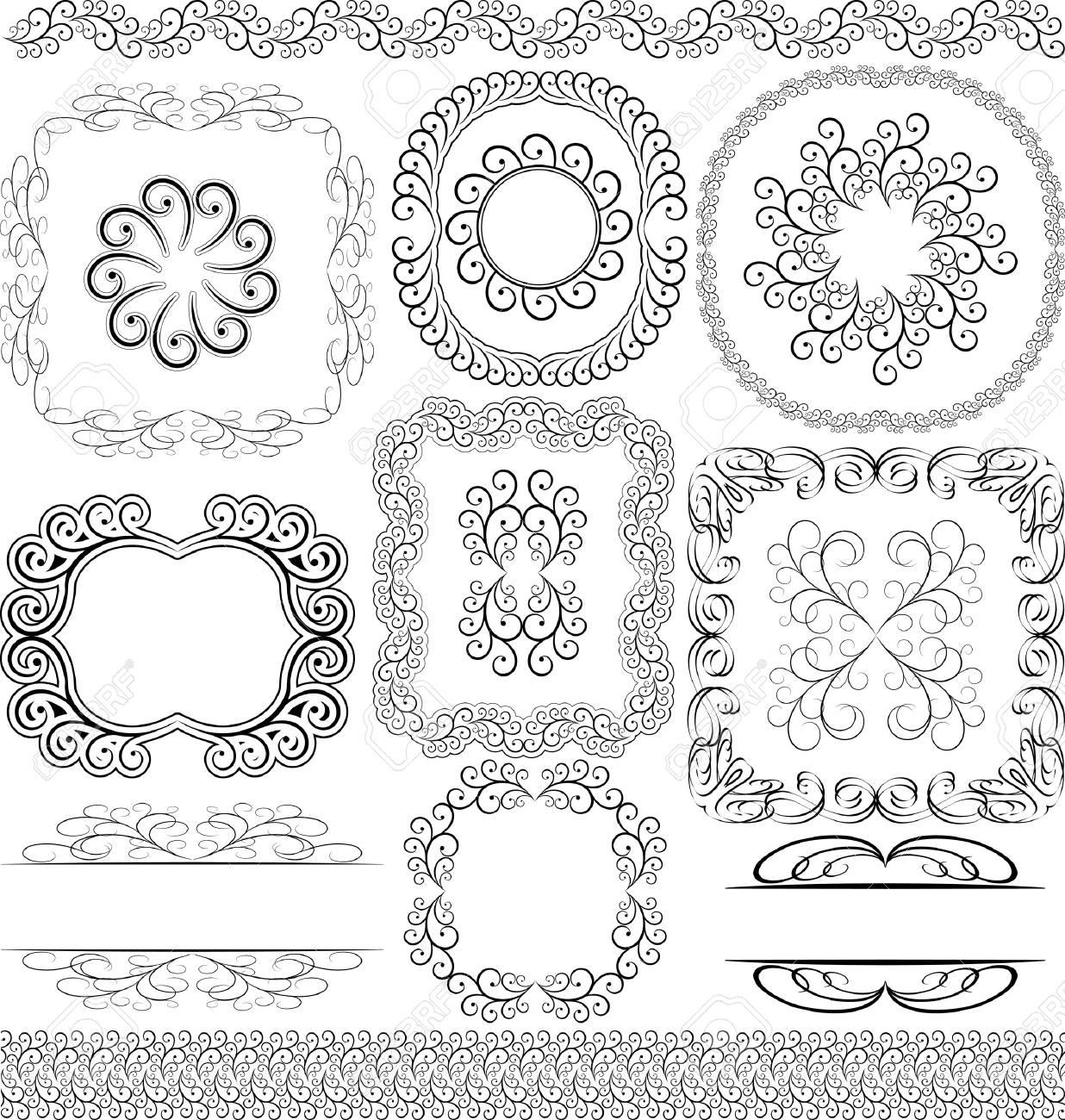vector set - borders, frames and ornaments Stock Vector - 13565010