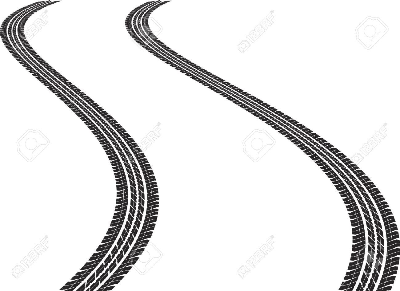 Tire Tracks Clipart Vector - clip art illustration of tire tracks