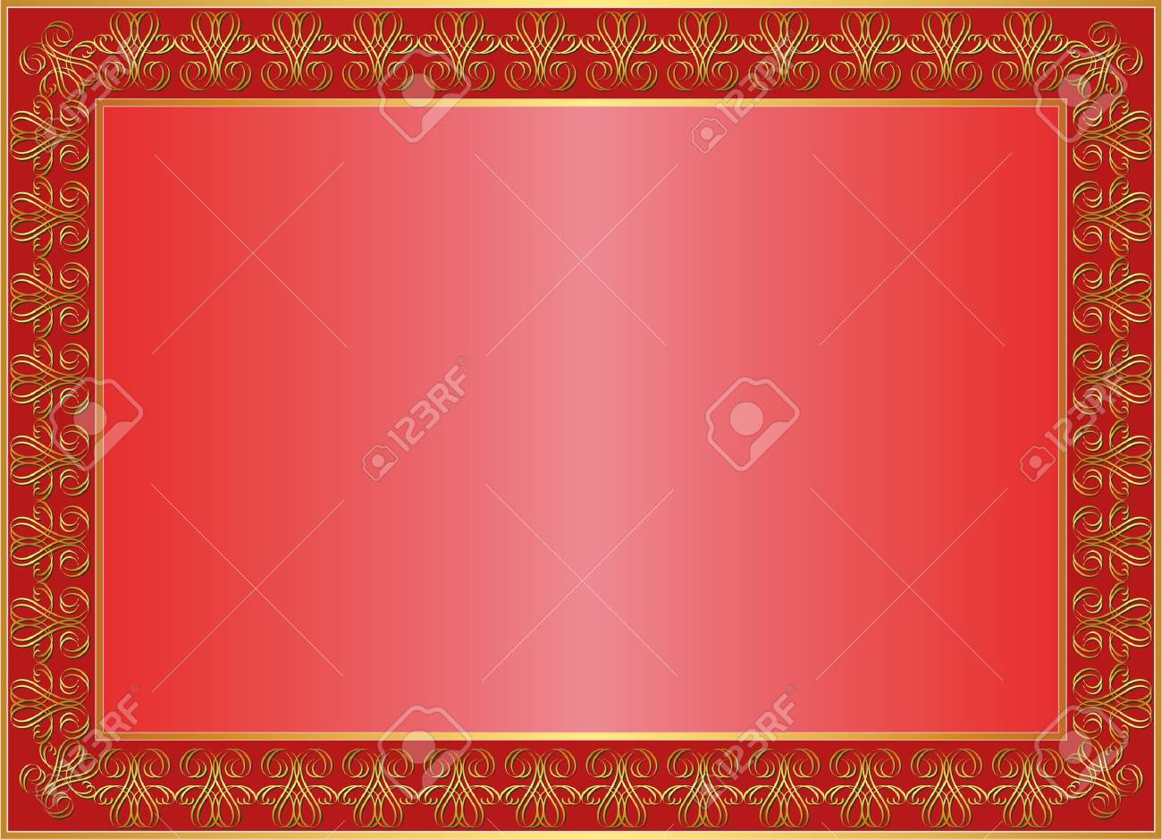 red background with gold ornaments and copy space Stock Vector - 13637437
