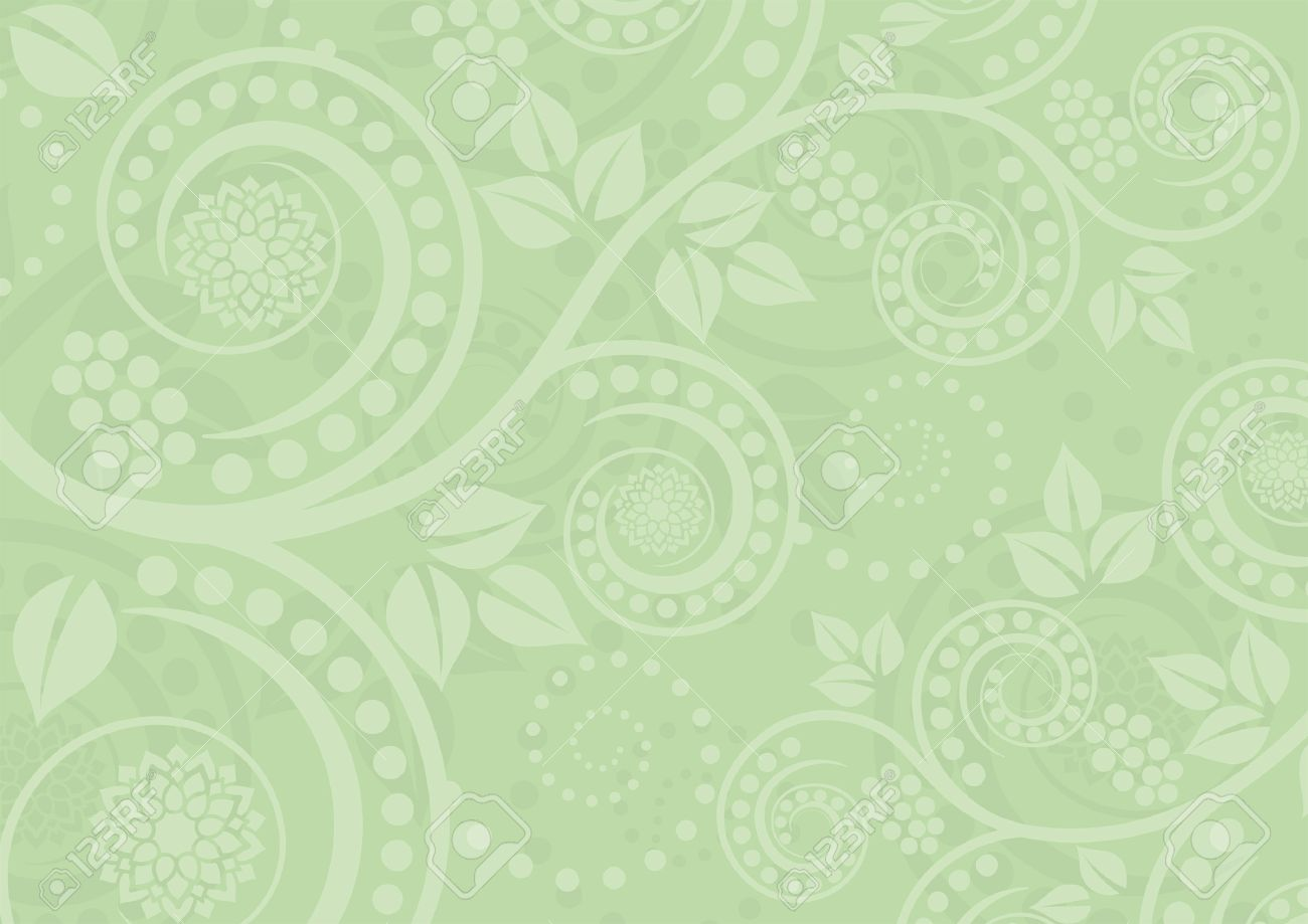 Light Green Background With Floral Ornaments Royalty Free Cliparts