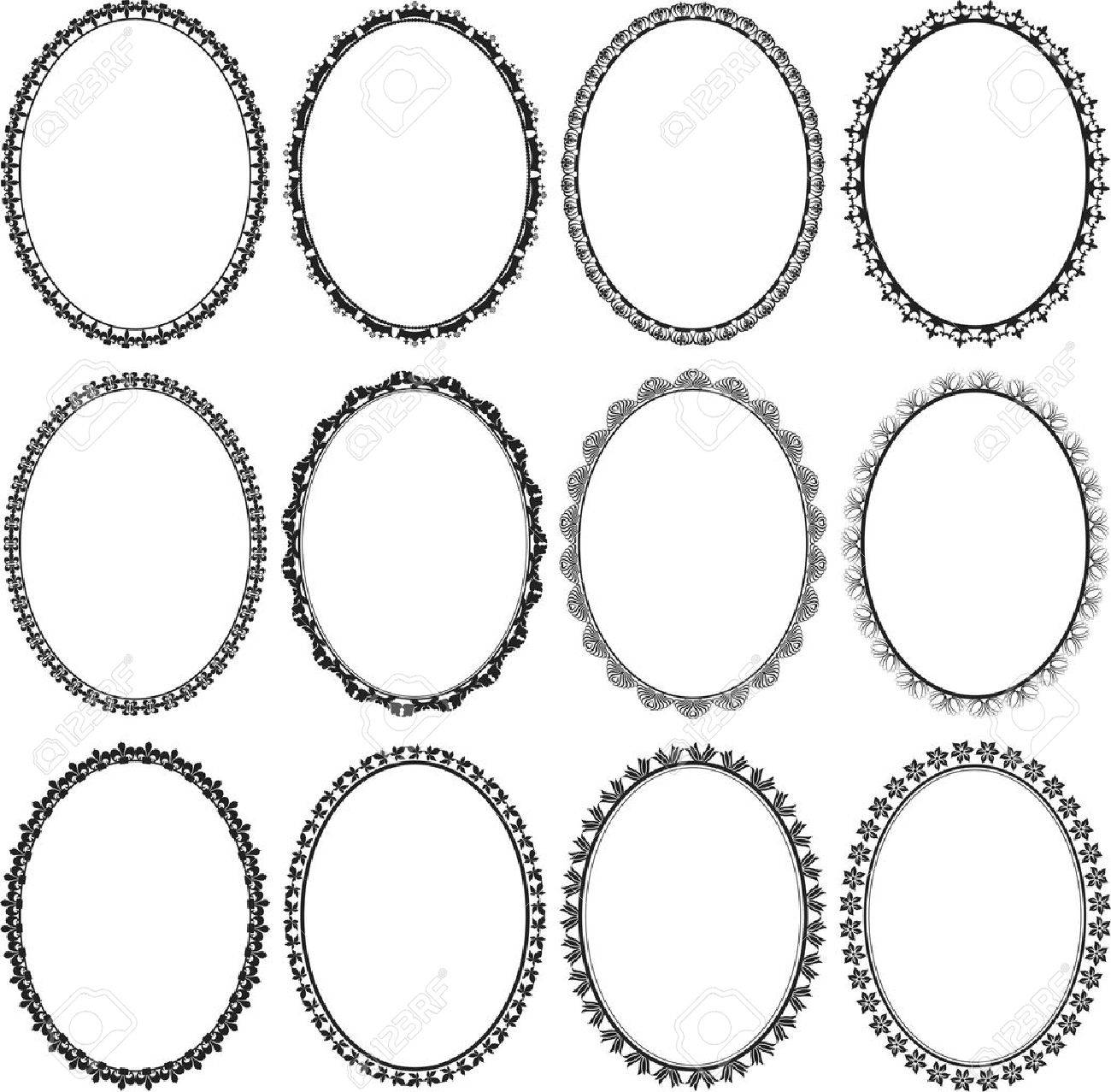 set of frames oval Stock Vector - 14030834