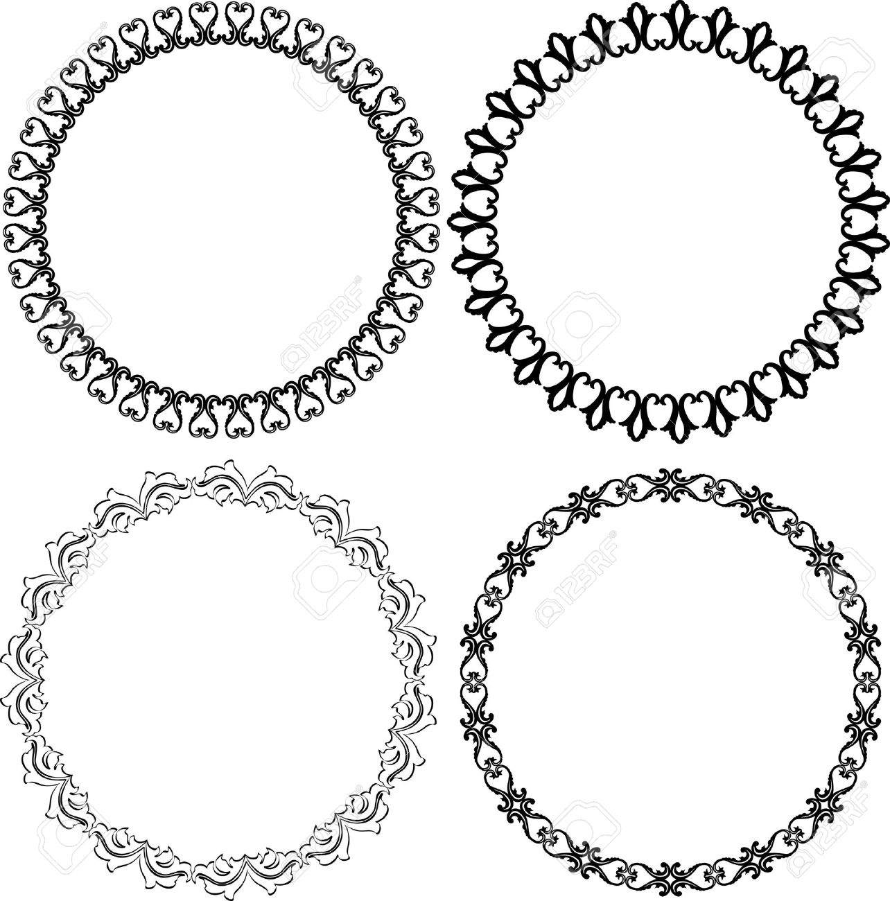vector set of decorative round frames