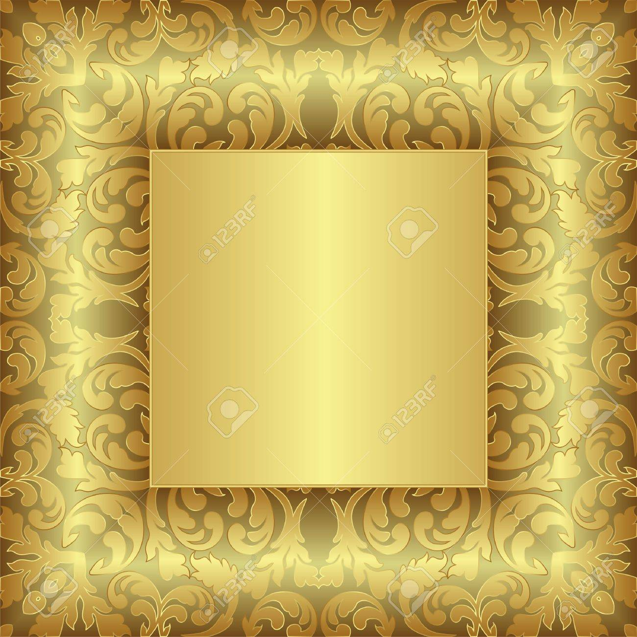 golden background with floral ornaments Stock Vector - 14120072
