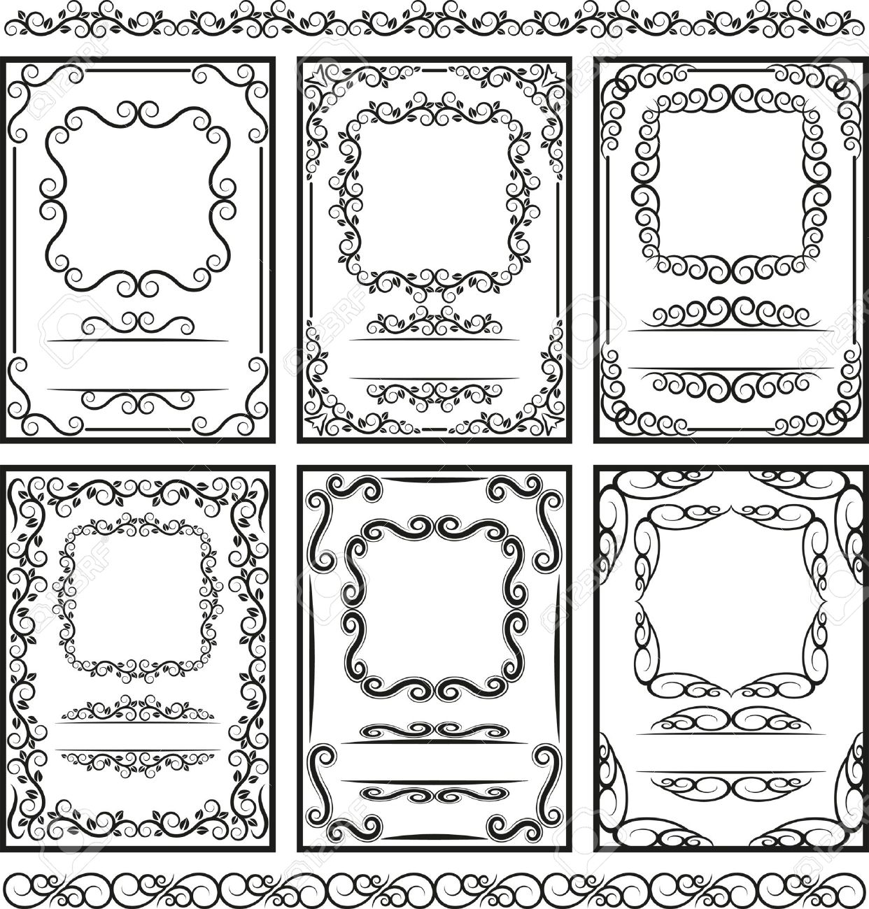 set of frames and borders -  page decoration Stock Vector - 14510554