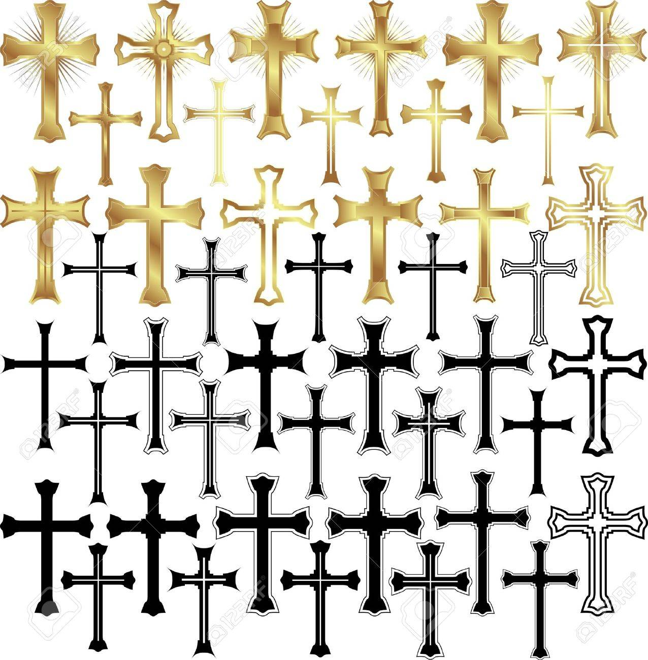 set of illustration gold and black crosses royalty free cliparts
