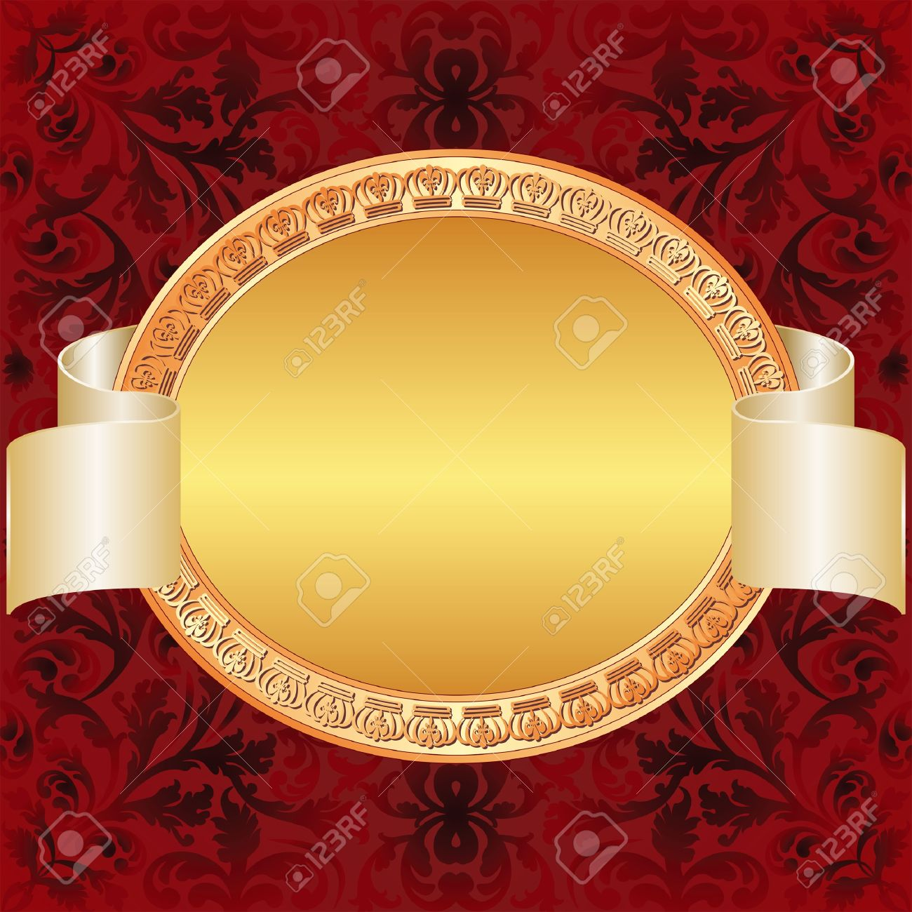 gold red background with gold oval frame Stock Vector - 15558763