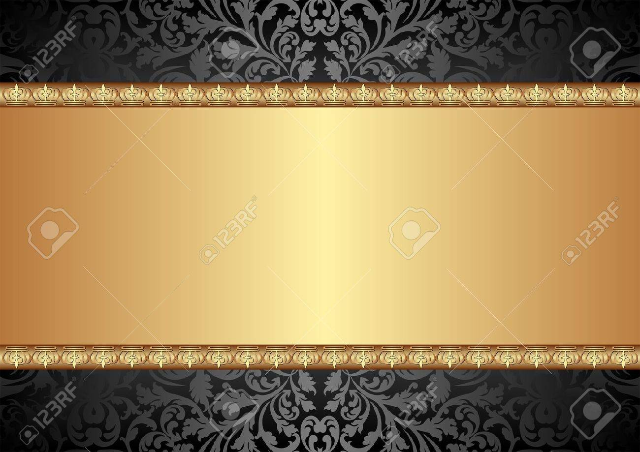 black and gold background with ornaments Stock Vector - 15759039