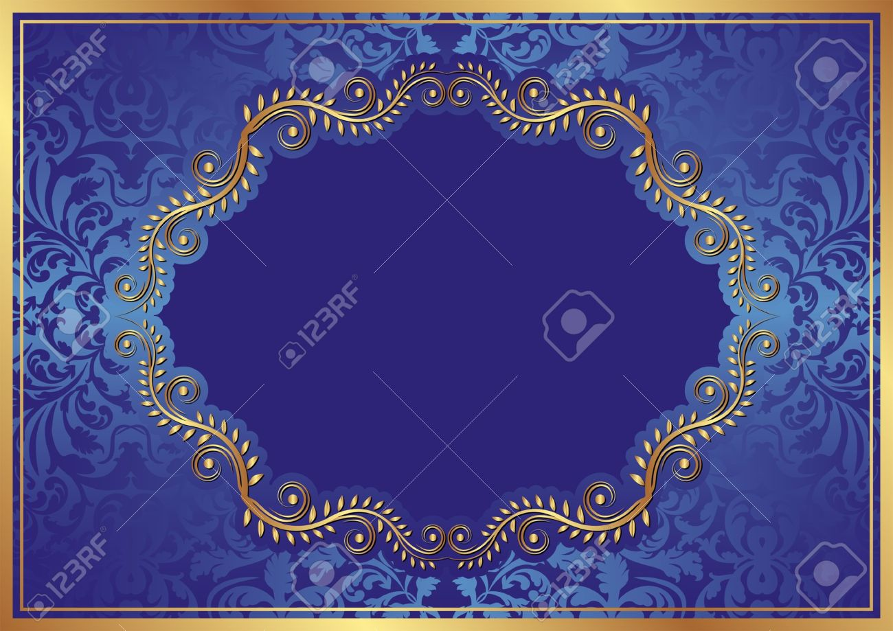 blue background with oval floral border Stock Vector - 15858803