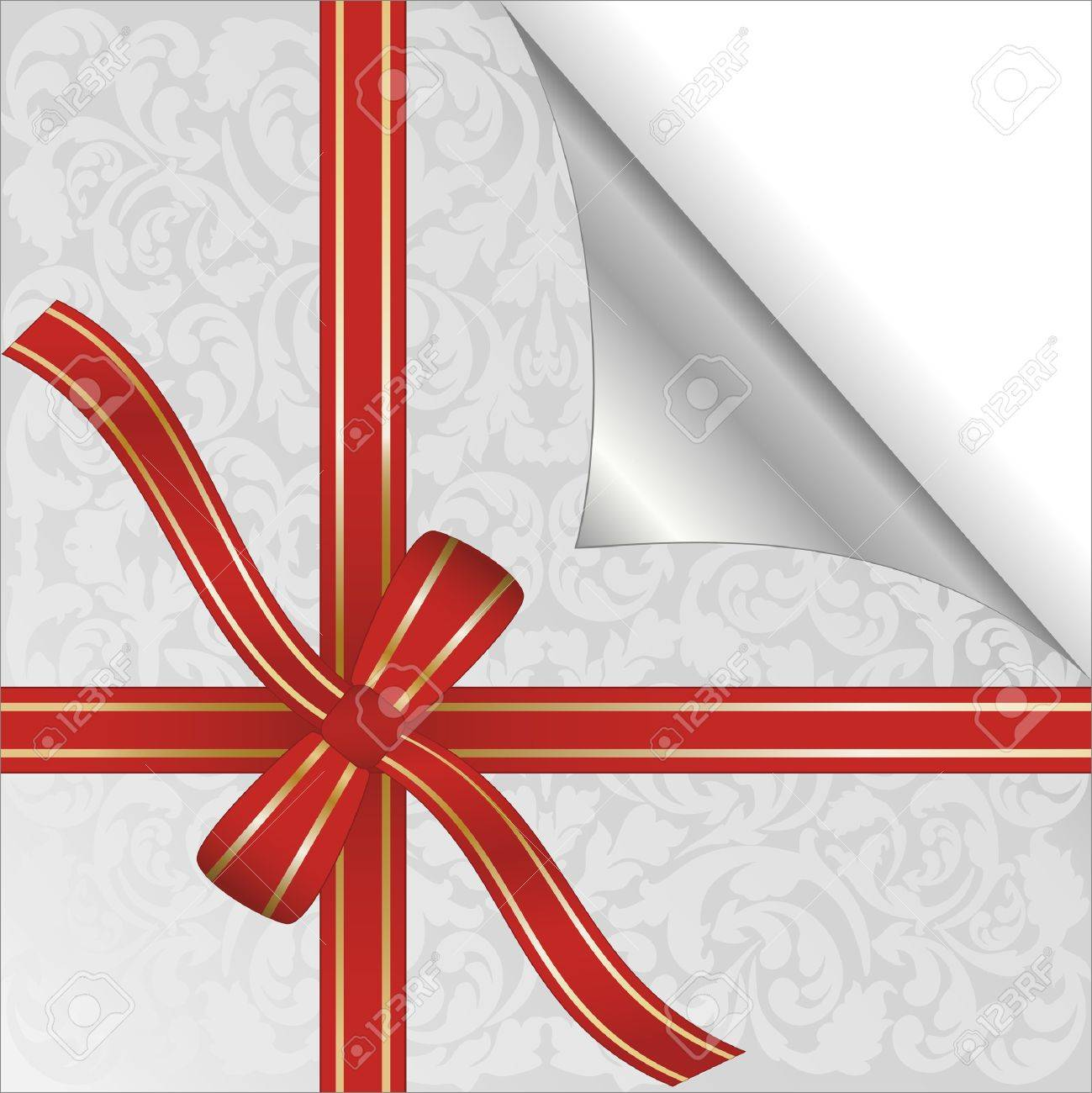 red ribbon wrapped around gift box Stock Vector - 16146166
