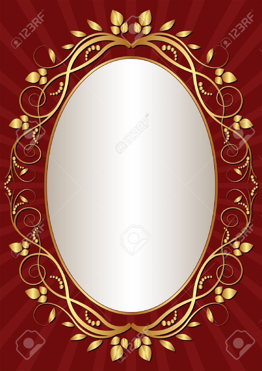 Dark Red Background With Gold Oval Frame Royalty Free Cliparts ...