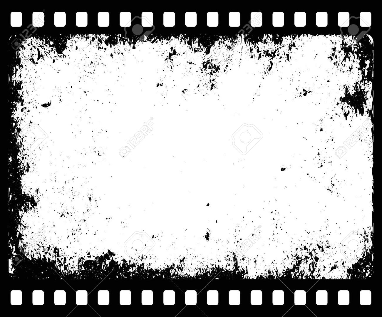 grunge filmstrip with transparent space insert for picture or, Powerpoint templates