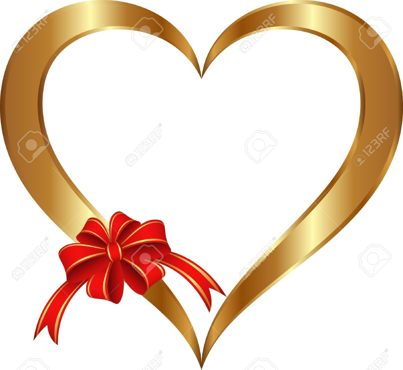 isolated golden heart with red ribbon and bow Stock Vector - 17278137