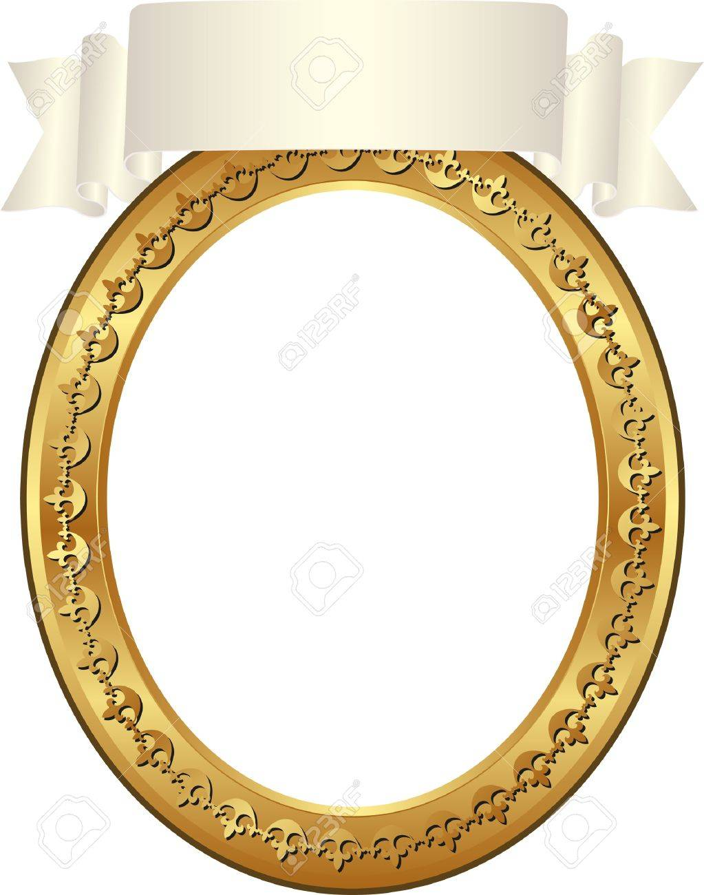 Gold Frame With Transparent Space Insert For Picture And Ribbon Stock Vector