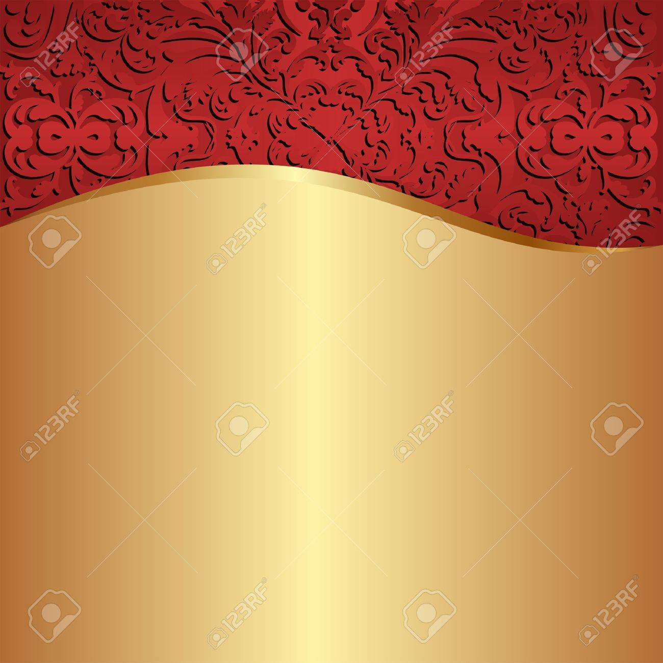 gold background with red ornaments Stock Vector - 17636437