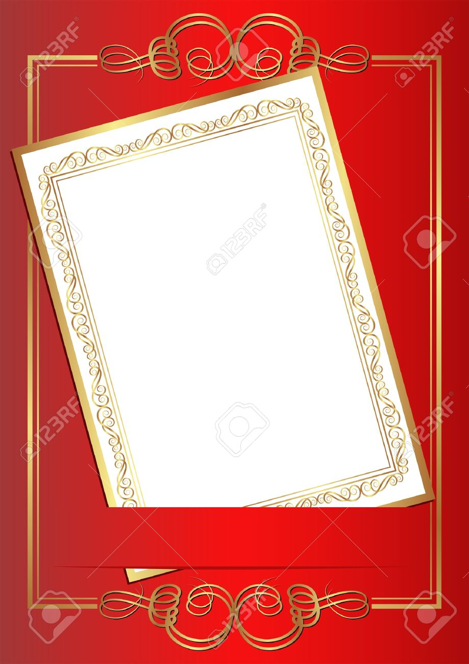 Invitation card on red background with gold ornaments royalty free invitation card on red background with gold ornaments stock vector 17636493 stopboris Images