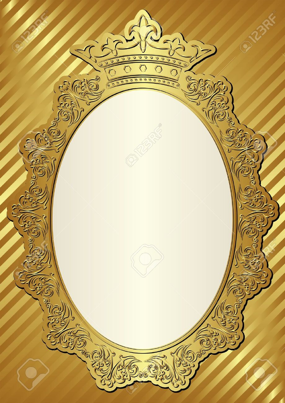 Golden Background With Decorative Frame And Crown Royalty Free ...