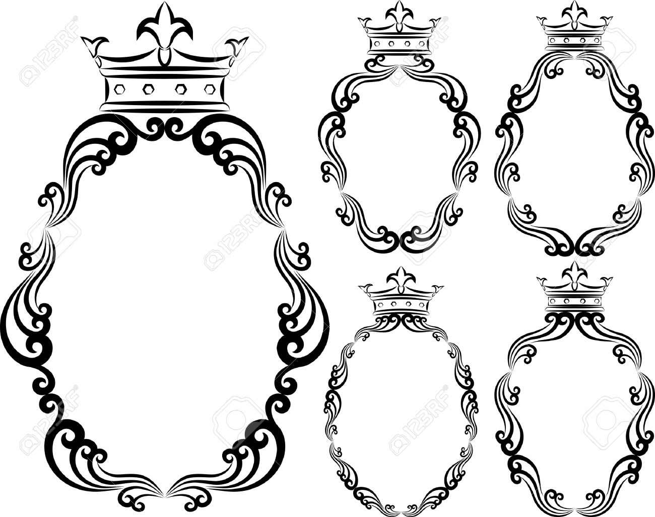 Set Of Decorative Frames With Crowns Royalty Free Cliparts, Vectors ...