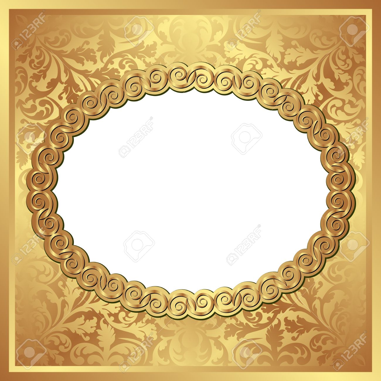 Golden Background With Oval Frame And Transparent Space Insert For Picture