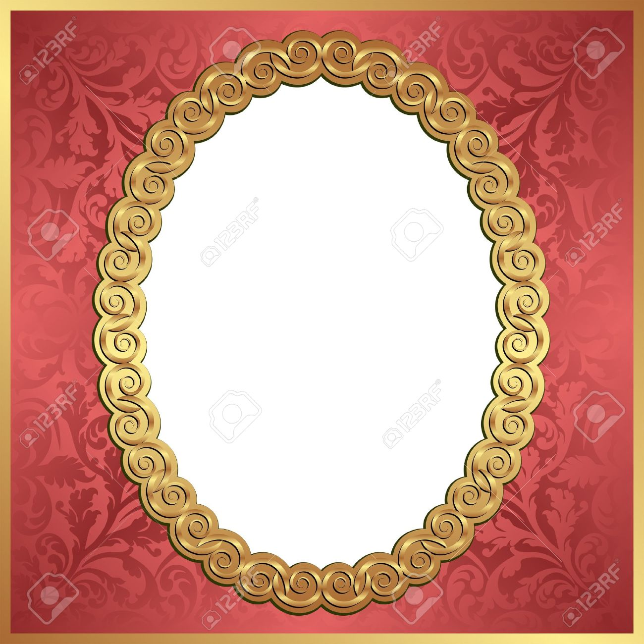 Red Background With Gold Oval Frame And Transparent Space Insert For Picture Stock Vector