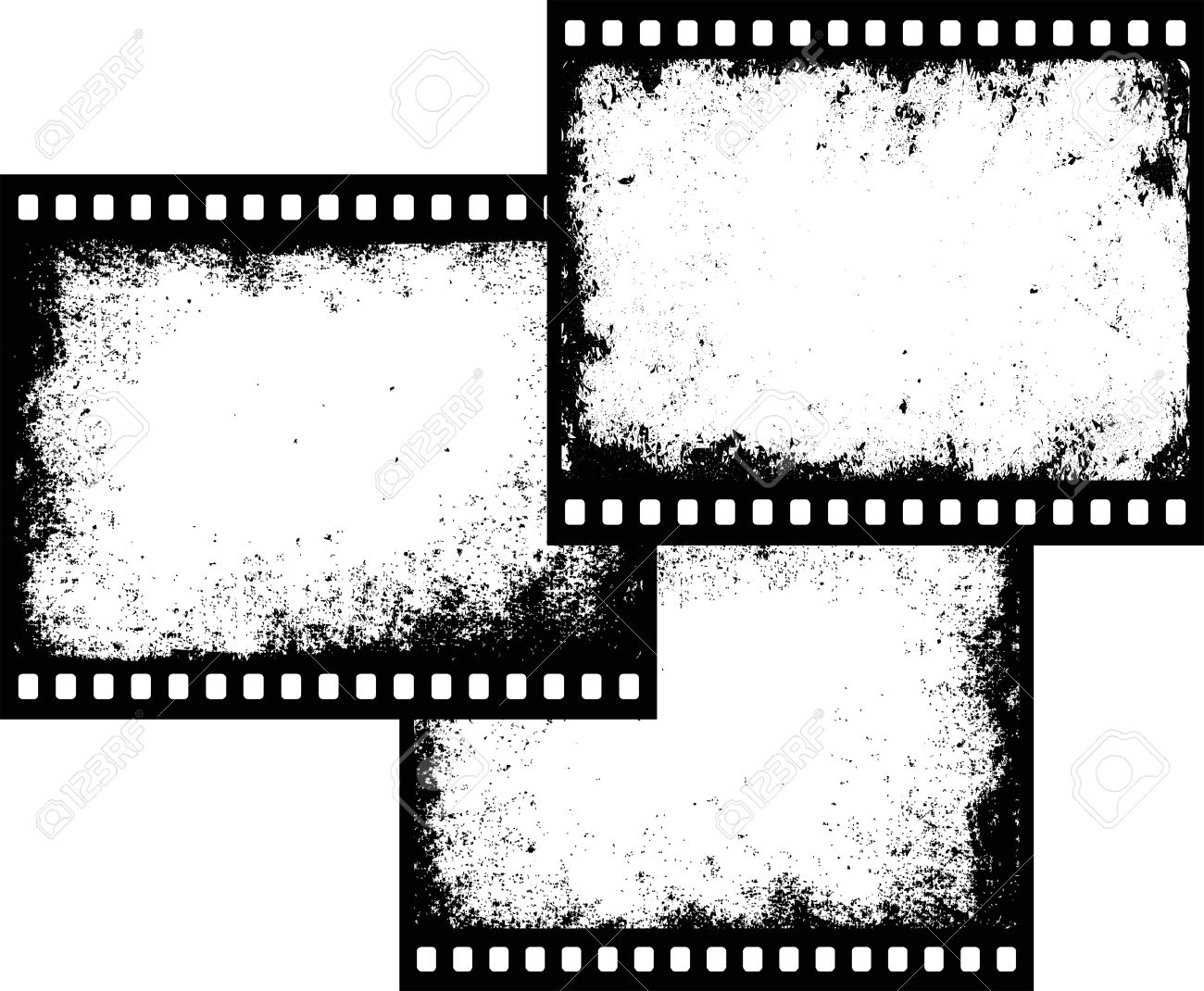 vector three grunge film frames with transparent space insert