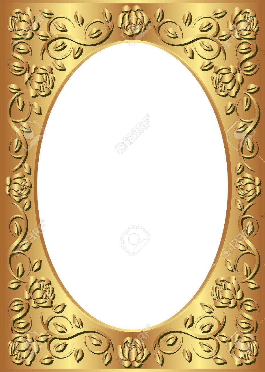 Golden Frame With Floral Border And Transparent Space Insert Stock Vector