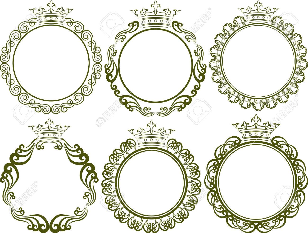 vector set of royal frames with crown