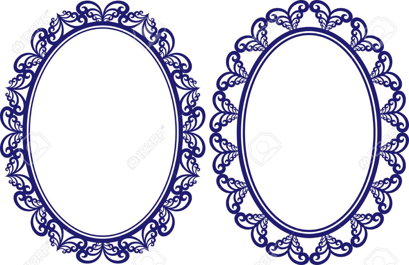 Set Of Two Vintage Oval Frames With Decorative Border Stock Vector