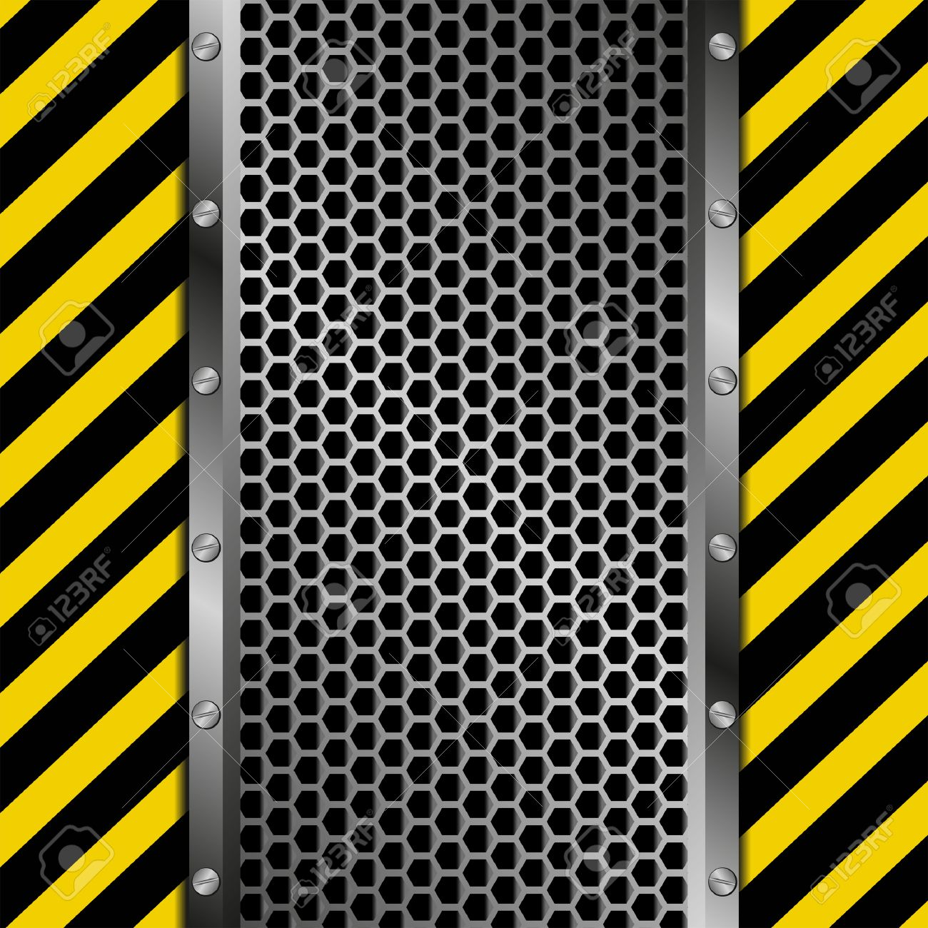 grate background with yellow and black tape Stock Vector - 26551844