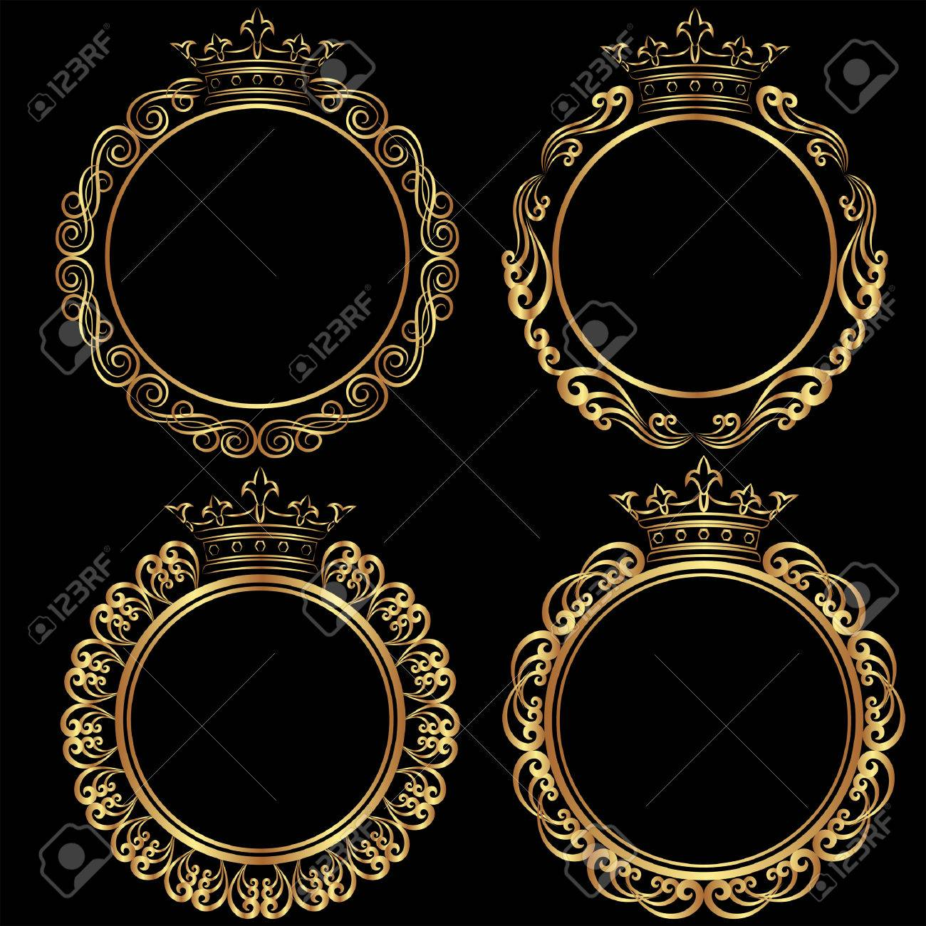 Set Of Golden Frames With Crown Royalty Free Cliparts, Vectors, And ...