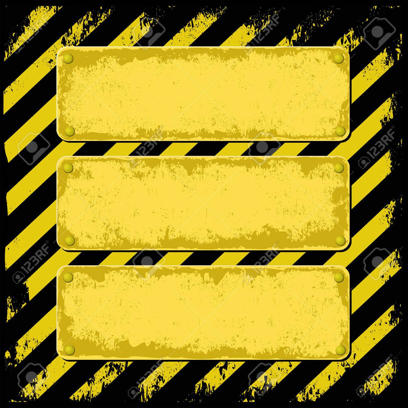 yellow and black grunge background with three plaque for text Stock Vector - 27335735