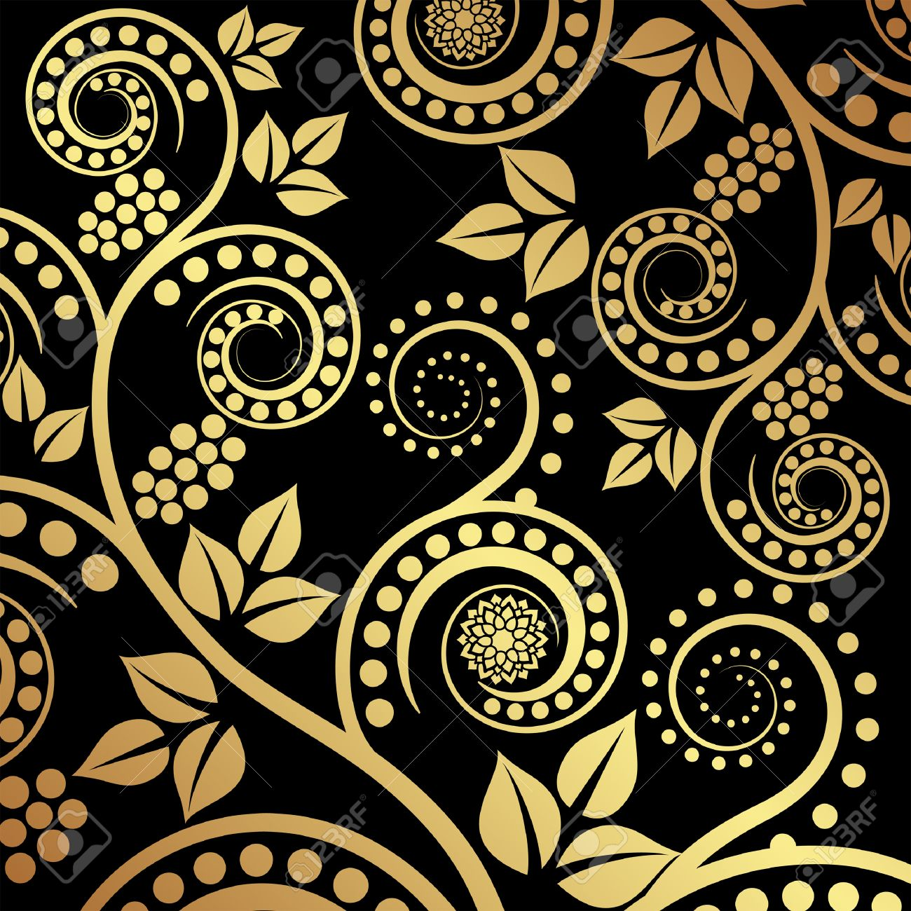 Black And Gold Floral Background Royalty Free Cliparts Vectors
